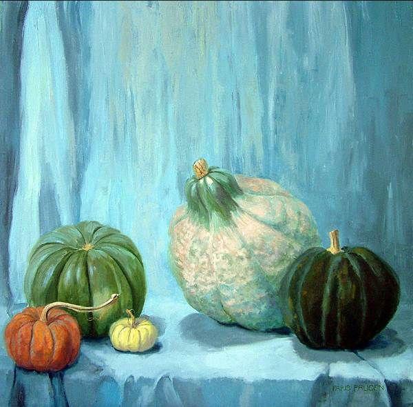 Nancy-Paris-Pruden-Green-Pumpkins-oil-on-canvas-30-x-30-inches