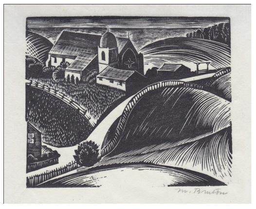 """Margaret Burton, """"Carmel Mission,"""" wood engraving, c. 1930, The Annex Galleries, Santa Rosa, CA"""