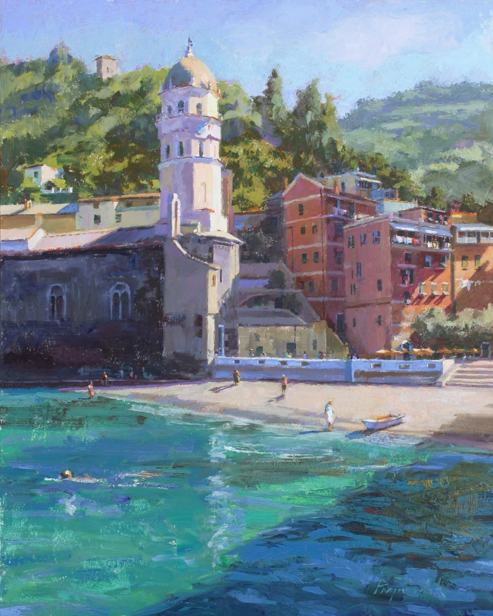 "Early Birds at Vernazza Beach, oil on panel, 20"" x 16"""