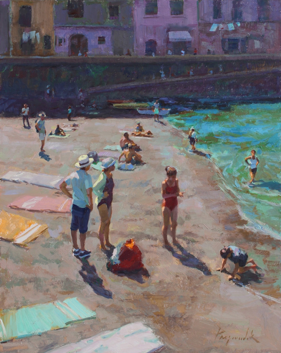 "Vernazza Beach, oil on panel, 20"" x 16"""