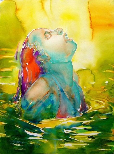 "Avocado-Swim, watercolor, 15"" x 22"""