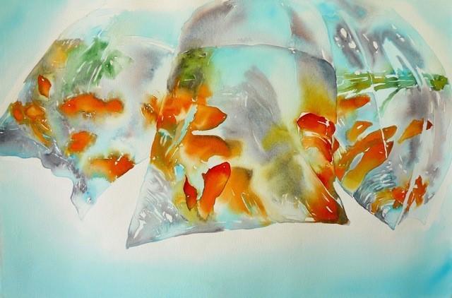 "Goldfish in a Bag, watercolor, 15"" x 22"""