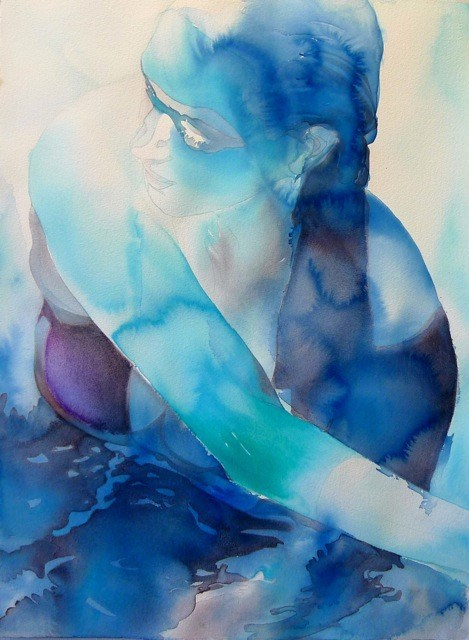 """Ice Blue, watercolor, 30"""" x 22"""""""