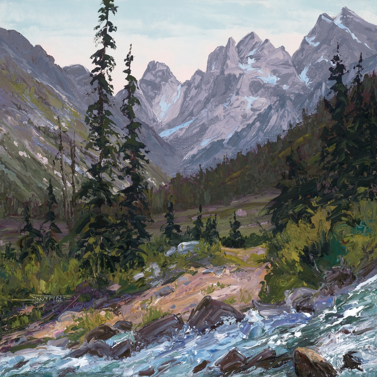 """Back Country Trail, oil on panel, 12"""" x 12"""""""