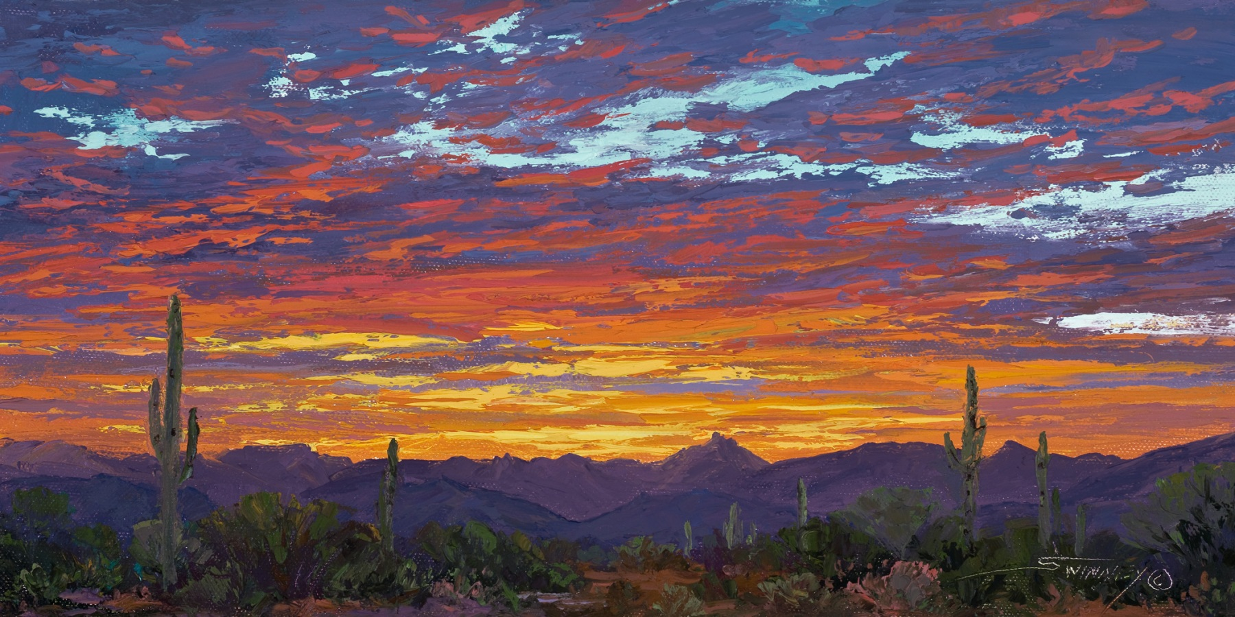 """Last Glimmer of the Day, oil on panel, 8"""" x 16"""""""