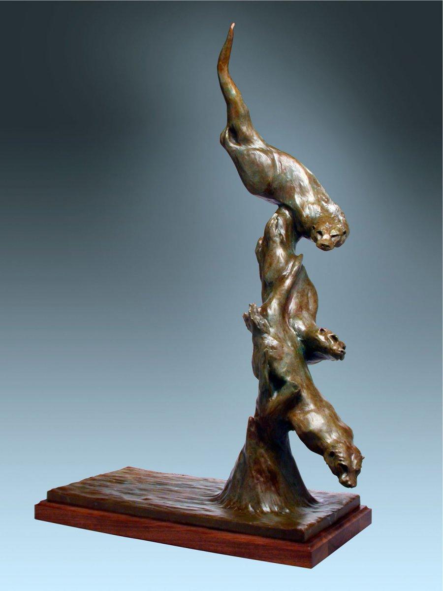 "River Dancers, bronze, 41"" x 24"" x 13"""
