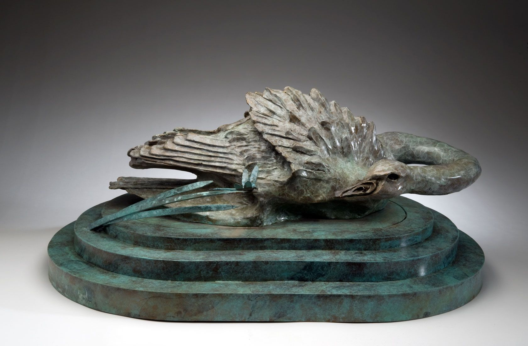 """Trumpeter and Dragonfly, bronze, 13"""" x 34"""" x 23"""""""