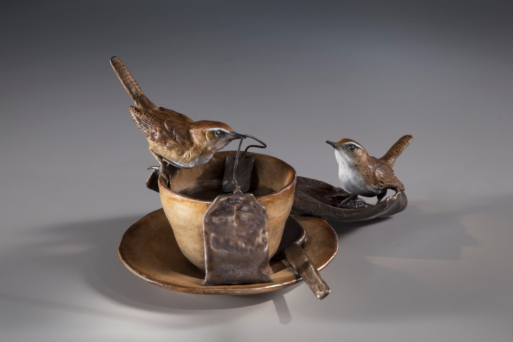 """Tea for Two, bronze, 5.5"""" x 9"""" x 10"""""""