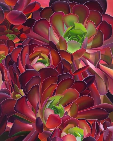 "Crowdsourcing – Succulents, Huntington Gardens, CA, Oil on canvas, 60"" x 48"