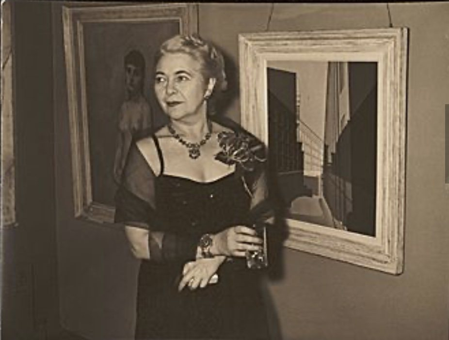 Edith Halpert at gallery opening, photograph, c. 1950, Archives of American Art, DC, www.aaa.si.edu.