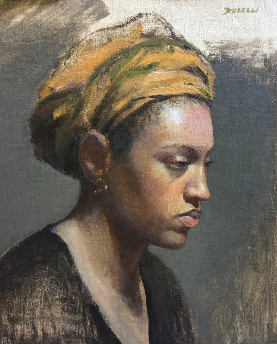 """Woman with Turban, oil on linen, 12"""" x 10"""""""