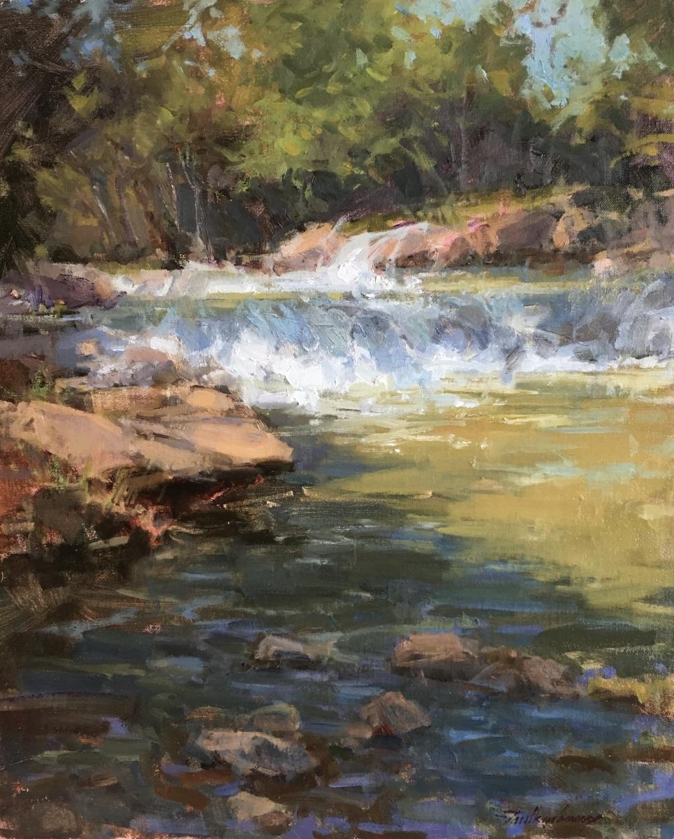 "Summer on Travertine Creek, oil, 20"" x 16"""