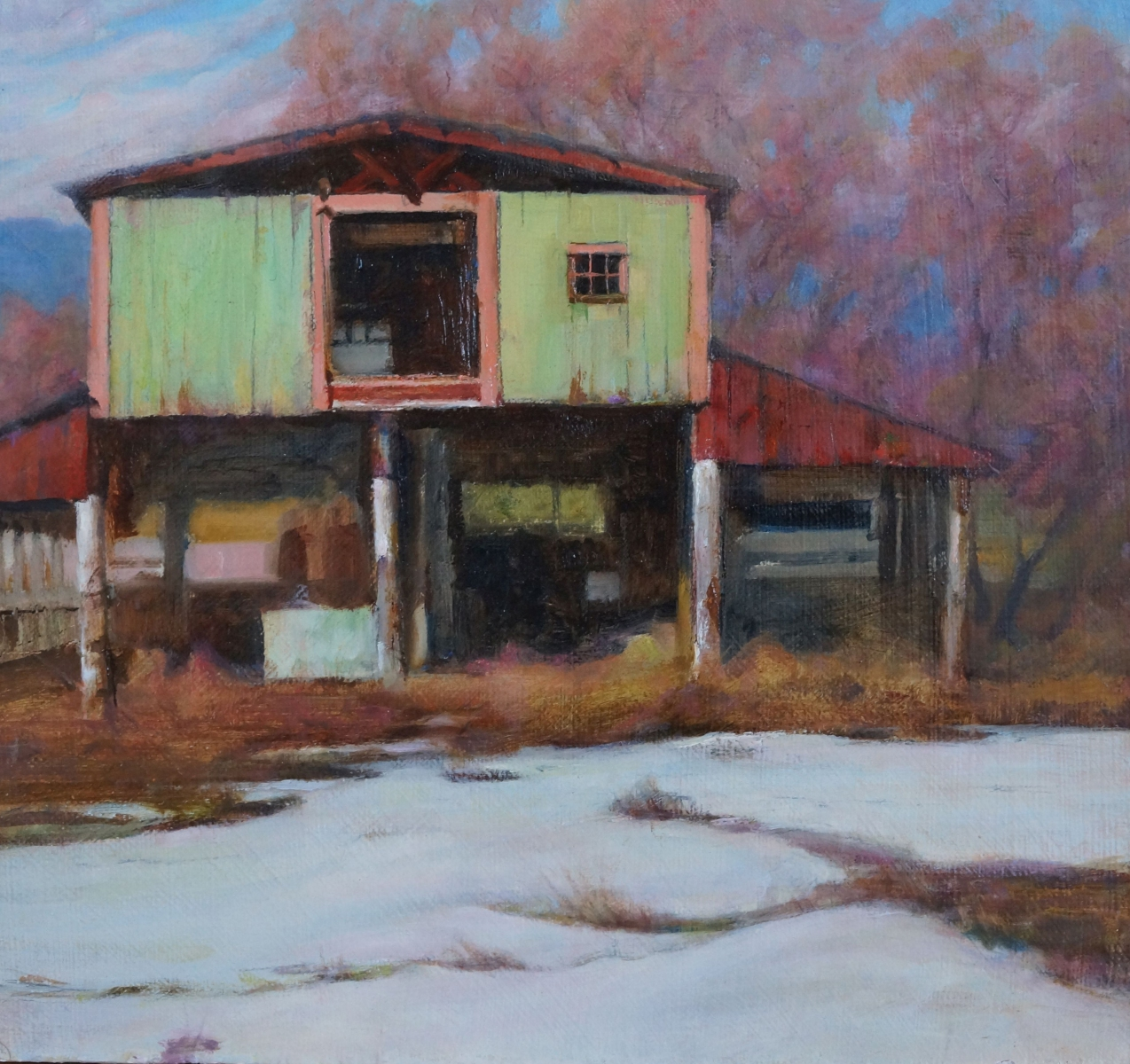 """Evening At The Pole Barn, oil, 12"""" x 13"""""""