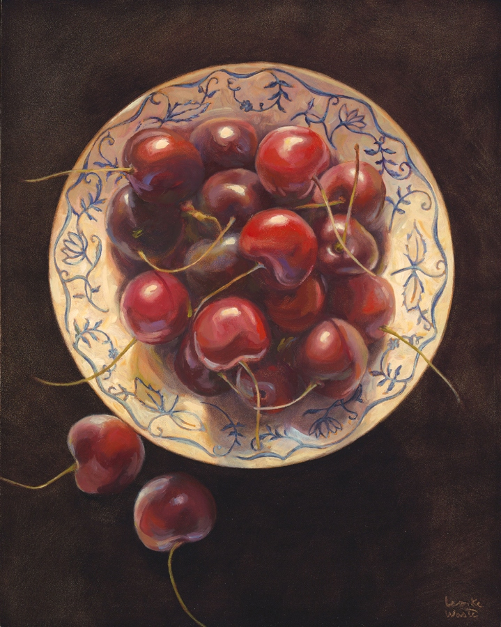 "Cherries in Blue and White, oil on board, 20"" x 16"""
