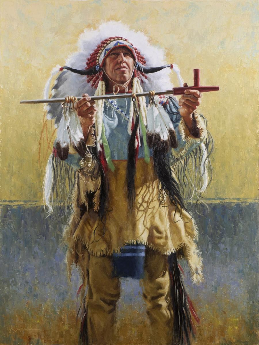 """Channunpa Wakhan - The Sacred Pipe, Lakota, oil on linen panel, 40"""" x 30"""""""