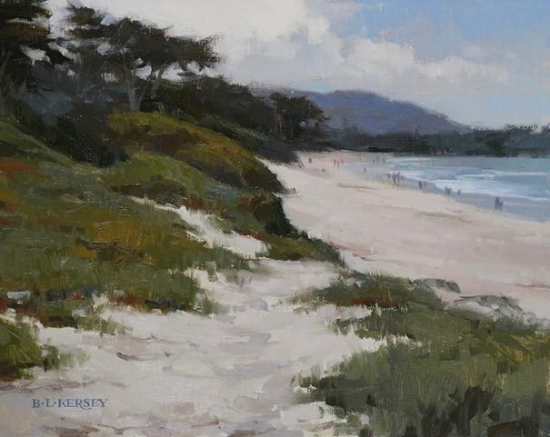 "Carmel Beach, oil, 11"" x 14"""
