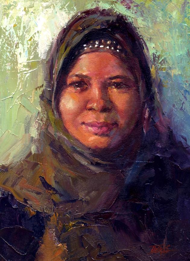 """Noor Azizah, oil, 12"""" x 9"""""""