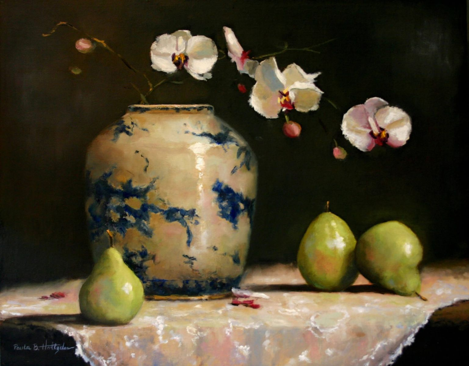 "Orchids with Pears, oil, 16"" x 20"""