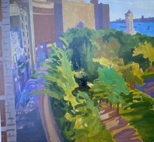 """Riverside Drive and Park,"" Oil, 28"" x 30"", 1970, Artist Estate"