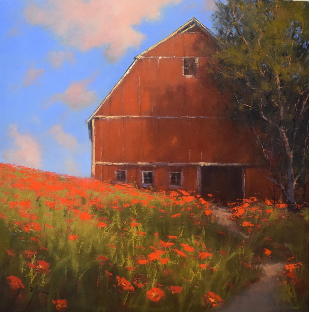 "Barn in Summer, oil, 48"" x 48"""