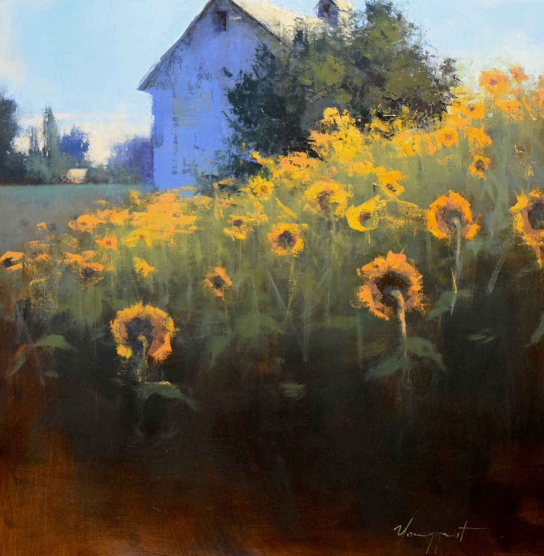 "Sunflowers Facing East, oil, 40"" x 40"""
