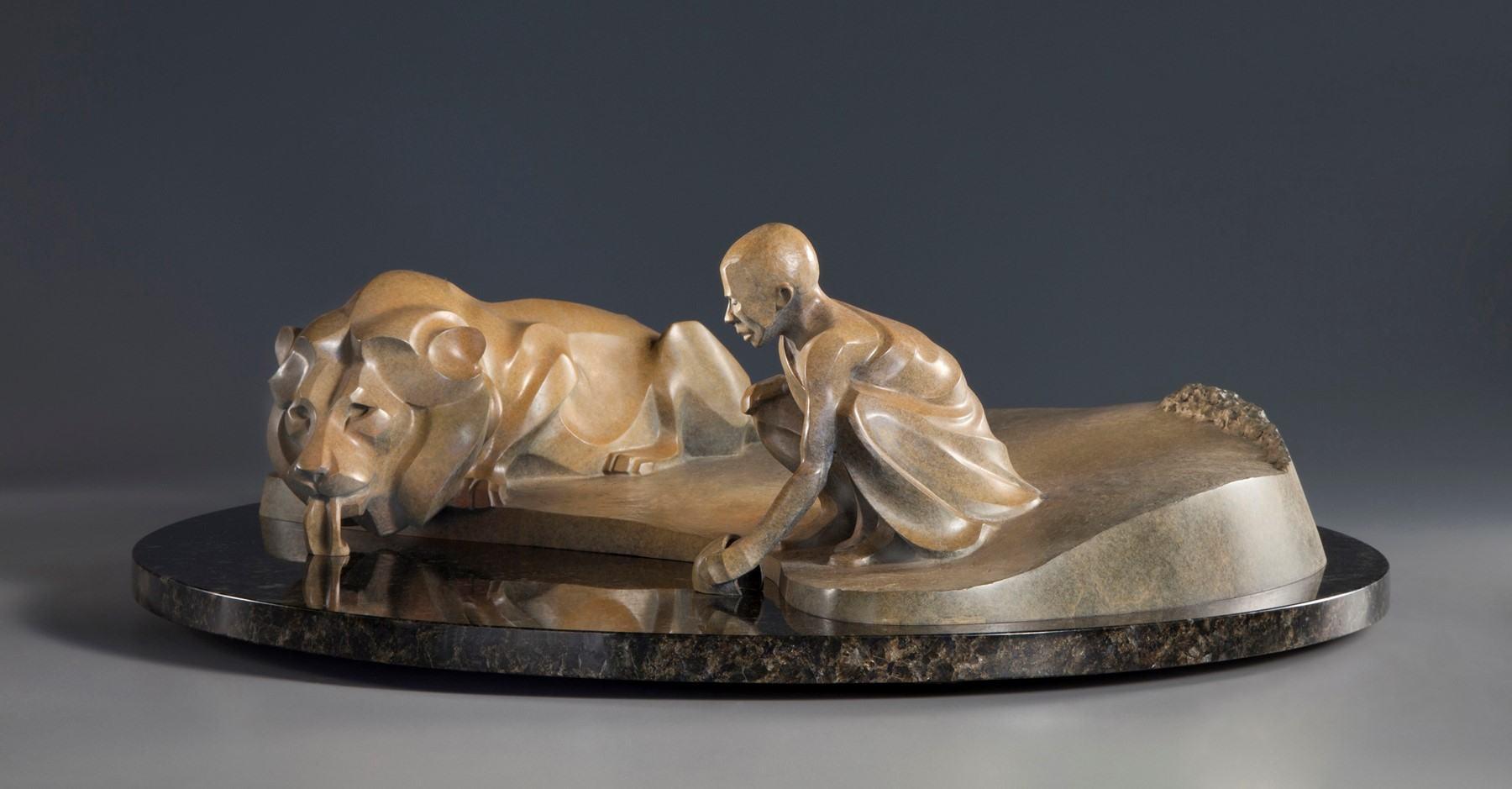 "Ancient Truce, bronze, 7.5"" x 24"" x 24"""