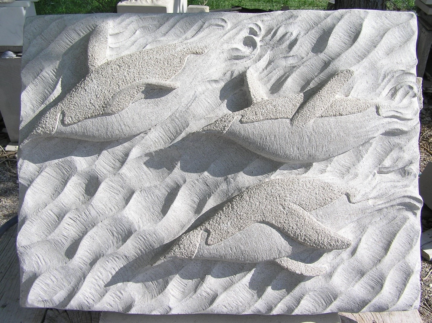 """When Penguins Fly, Indiana Limestone, 18"""" x 24"""" x 4"""""""