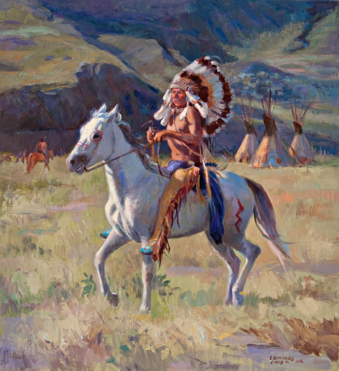 "Chief's New Pony, oil on linen, 24"" x 22"""