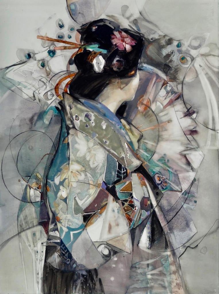OConnor Carla Allure of Kimono Watercolor and Gouache 30 x 22